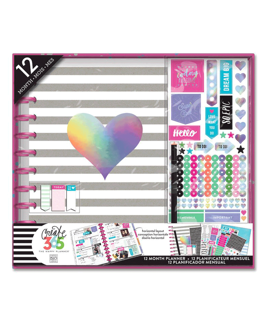 MAMBI - Happy Planner - 12 Month Box Kit - Rainbow Foil - BIG / HORIZONTAL
