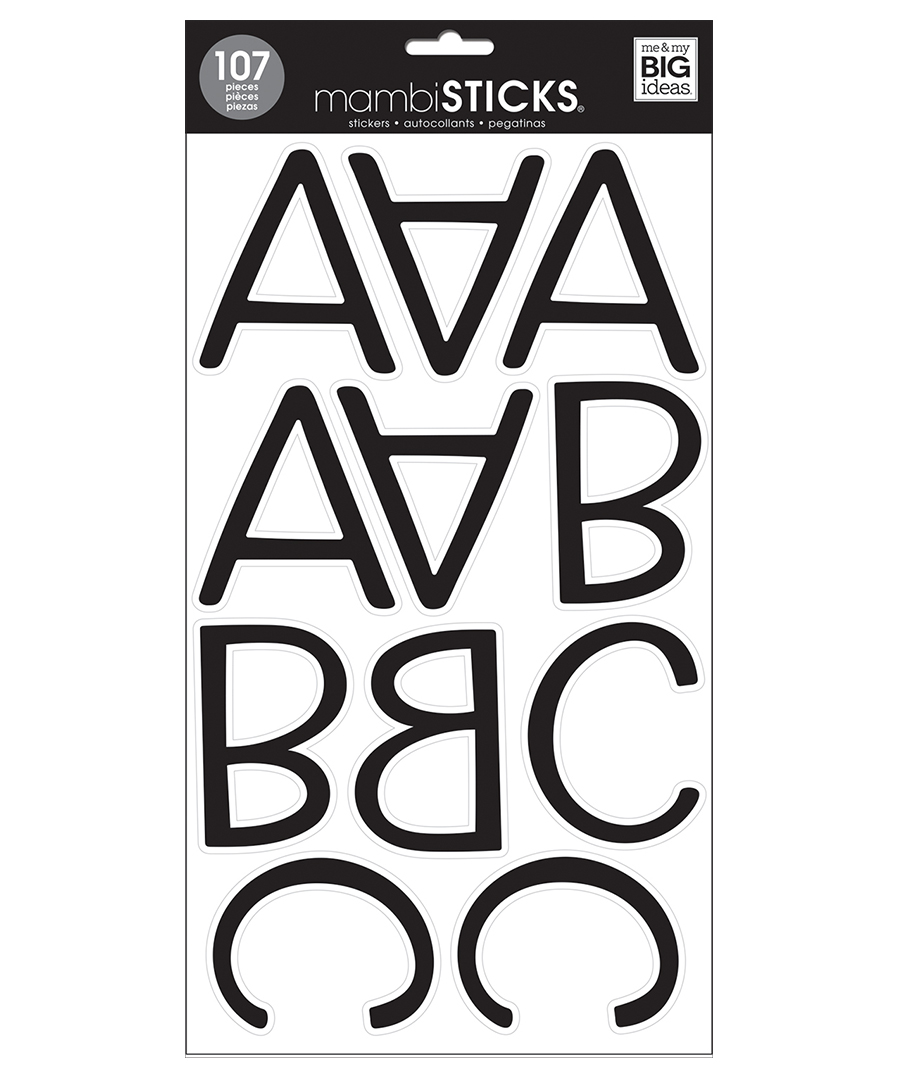 large letter stickers mambi stickers large slim black letters and numbers 22687 | STL 287