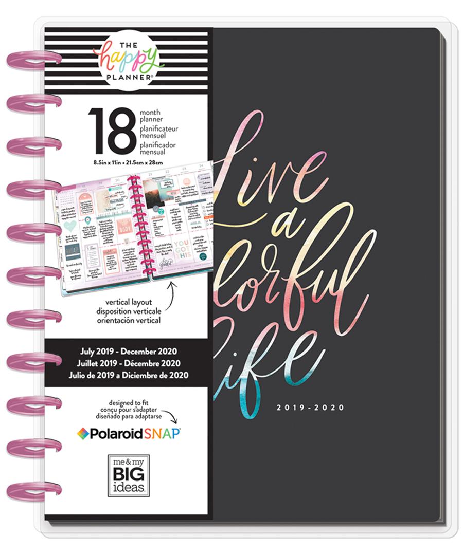 MAMBI - Happy Planner - Big Watercolour Black Planner 18 Months (July  2019-December 2020)